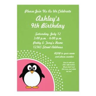 Penguin Birthday Party Invitation