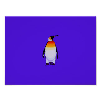 Penguin Blue Poster