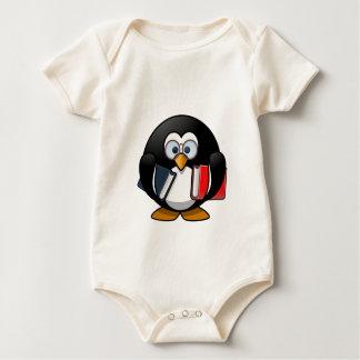 Penguin & Books student teacher reading bookworm Baby Bodysuit