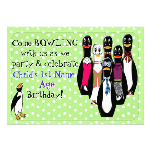 Penguin Bowling Birthday Party (Personalized) Custom Announcement