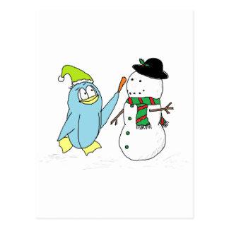 Penguin Building A Snowman Postcard