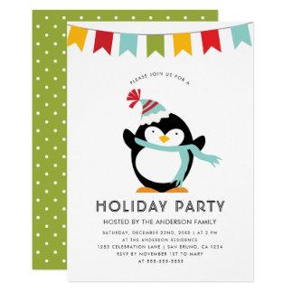 Penguin, Bunting & Polka Dots | Cute Holiday Party Card