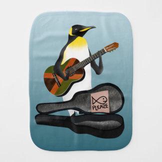 Penguin Busking Burp Cloth