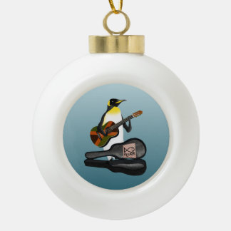 Penguin Busking Ceramic Ball Ornament