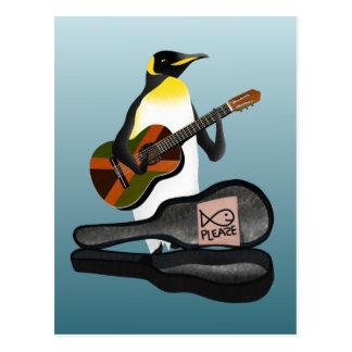 Penguin Busking Postcard