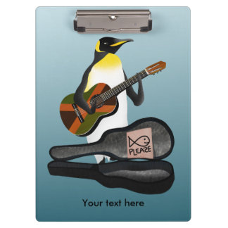 Penguin Busking With Jamaica Flag Guitar Clipboard