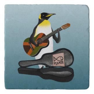 Penguin Busking With Jamaica Flag Guitar Trivet