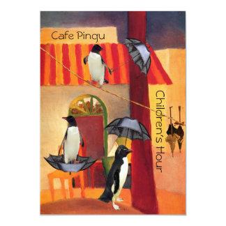 "Penguin Cafe 5"" X 7"" Invitation Card"