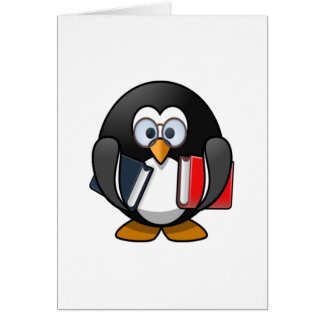Penguin Carrying Books Card