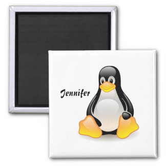 Penguin cartoon personalized, custom girls name square magnet