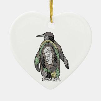 Penguin Ceramic Heart Ornament
