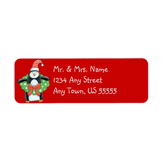 Penguin Christmas Address Labels