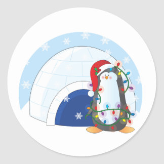 Penguin Christmas Classic Round Sticker
