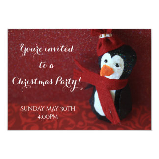 Penguin Christmas party invitation
