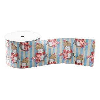 Penguin Christmas Pattern Grosgrain Ribbon