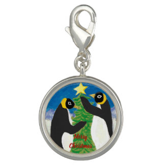 Penguin Christmas Round Charm, Silver Plated Charm