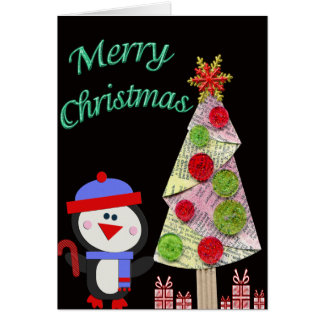 Penguin & Christmas Tree Merry Christmas Greeting Card