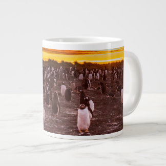 Penguin colony at sunset, Falkland Large Coffee Mug