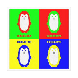 Penguin Colors Stretched Canvas Print