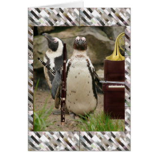 Penguin Concert, Winds and Piano Card