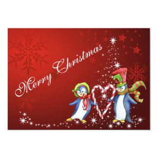 Penguin Couple and Holiday Tree Merry Christmas Card