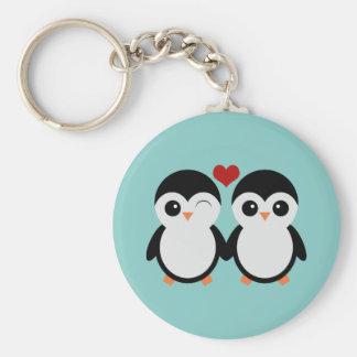 Penguin couple basic round button keychain