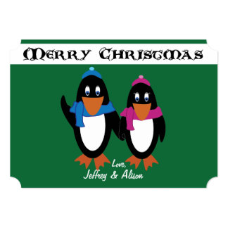 "Penguin Couple Holiday Card - 5 x 7 5"" X 7"" Invitation Card"