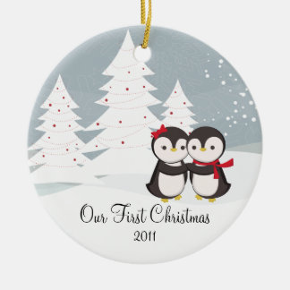 Penguin Couple Love Cute First Christmas Ornament