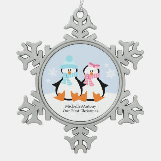 Penguin Couple Newlyweds First Christmas Pewter Snowflake Ornament