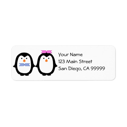 Penguin Couple Return Address Label