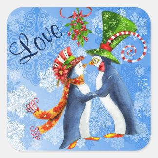 Penguin Couple Under the Mistletoe and in Love Square Sticker