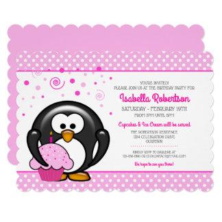 Penguin Cupcake Birthday Party Invitations