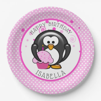 Penguin Cupcake Birthday Party Paper Plate
