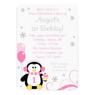 Penguin Cupcake Swirls Winter Onederland Pink Gray 5x7 Paper Invitation Card