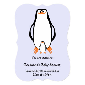 Penguin Design Personalized Baby Shower Card