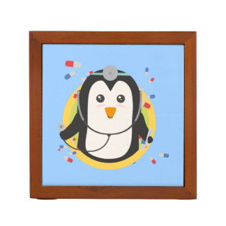 Penguin doctor in circle Z2j5l Desk Organizer