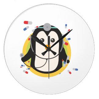 Penguin doctor in circle Z2j5l Large Clock
