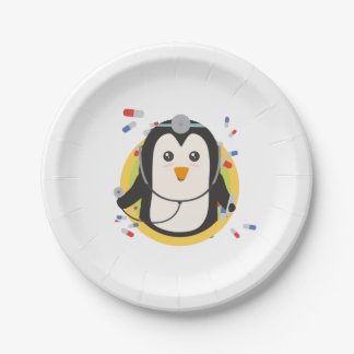 Penguin doctor in circle Z2j5l Paper Plate