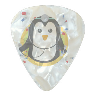 Penguin doctor in circle Z2j5l Pearl Celluloid Guitar Pick