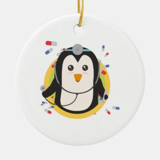 Penguin doctor in circle Z2j5l Round Ceramic Ornament