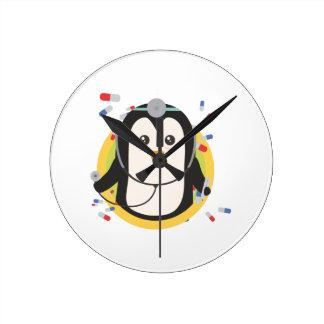 Penguin doctor in circle Z2j5l Wall Clocks
