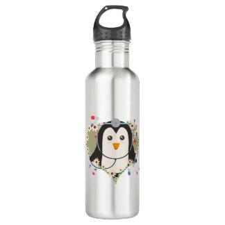 Penguin doctor with flower heart Zuq99 710 Ml Water Bottle