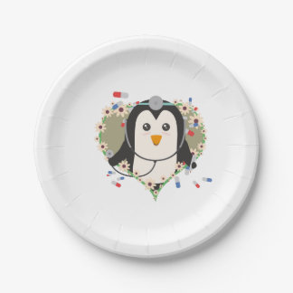 Penguin doctor with flower heart Zuq99 7 Inch Paper Plate