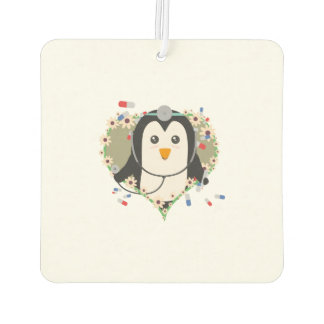 Penguin doctor with flower heart Zuq99 Car Air Freshener