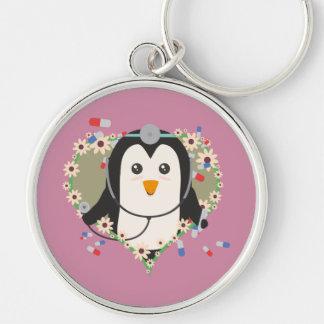 Penguin doctor with flower heart Zuq99 Keychain