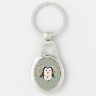Penguin doctor with flower heart Zuq99 Keychain