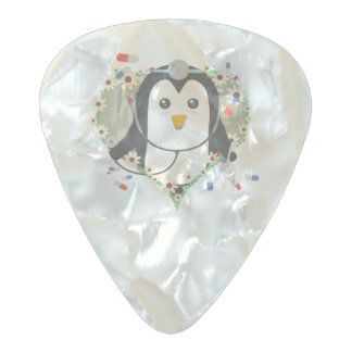 Penguin doctor with flower heart Zuq99 Pearl Celluloid Guitar Pick
