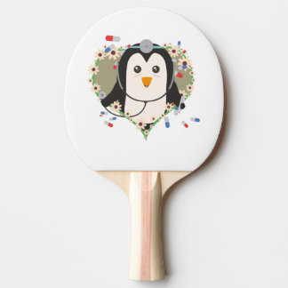 Penguin doctor with flower heart Zuq99 Ping Pong Paddle
