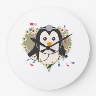 Penguin doctor with flower heart Zuq99 Wall Clock