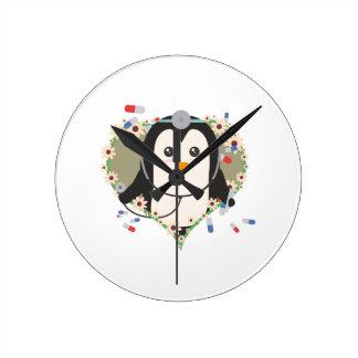 Penguin doctor with flower heart Zuq99 Wallclock